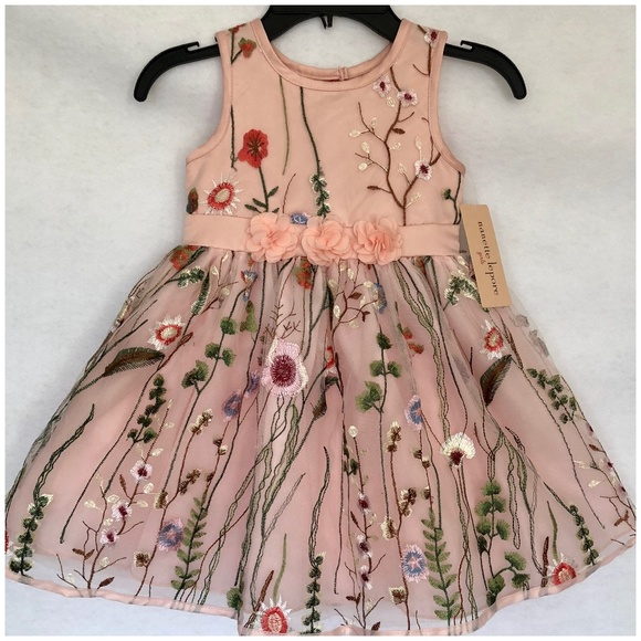 ce4a25e96f95a NWT Girls Peach Embroidered Floral Easter Dress 4T NWT
